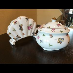 Beautiful butterfly sugar bowl and napkin holder